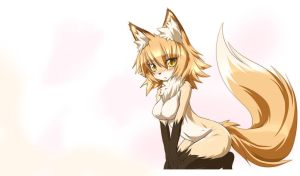Japanese anime drawing of kneeling girl dressed as a fox