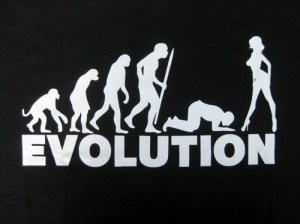 funny cartoon image of evolution man worshipping woman