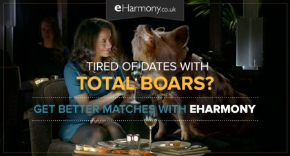 eHarmony advertising campaign of woman sitting with pig