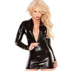 Blonde woman in low cut zip up latex dress