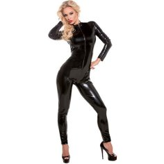 Blonde woman in long sleeved latex catsuit