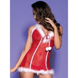 Brunette wearing sexy Santa Christmas lingerie from Bondara