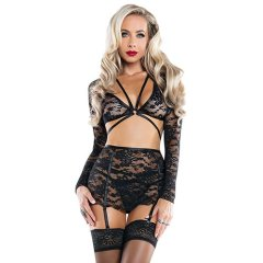 Sexy black lace long sleeved lingerie set