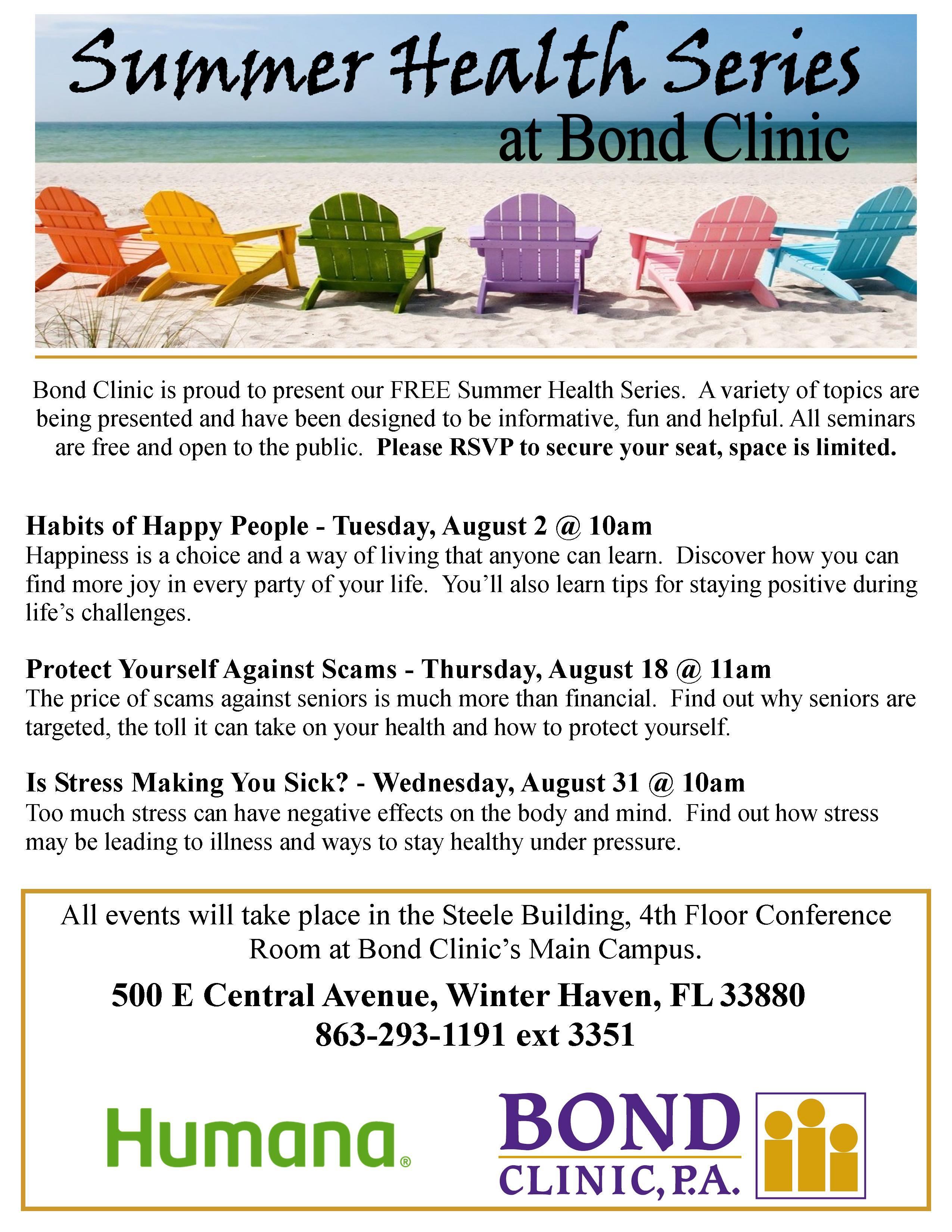 Summer Health Series At Bond Clinic