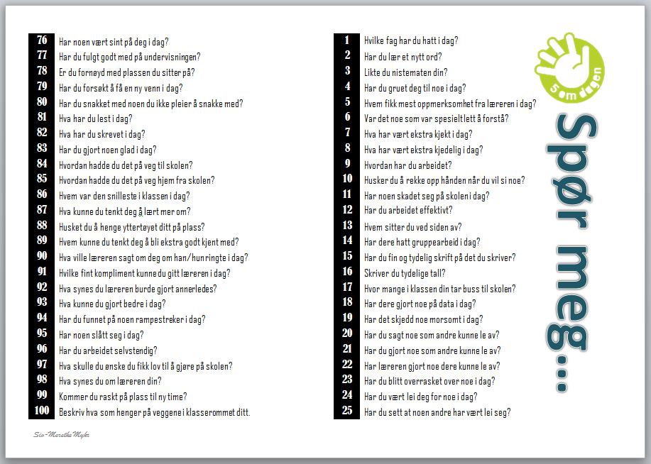 Spørsmålkort til foreldre