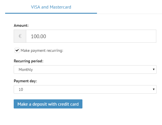 Setting up recurring payments