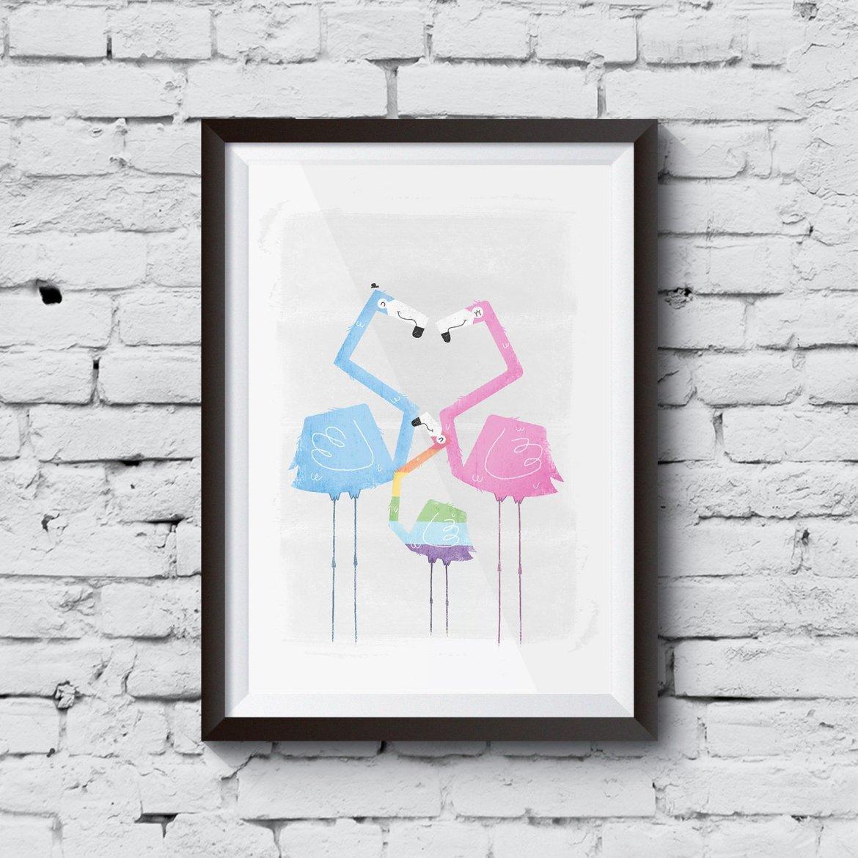Gay-Pride-Fflamingo-Family-framed