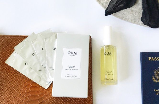 Ouai travel toiletries hair oil conditioner