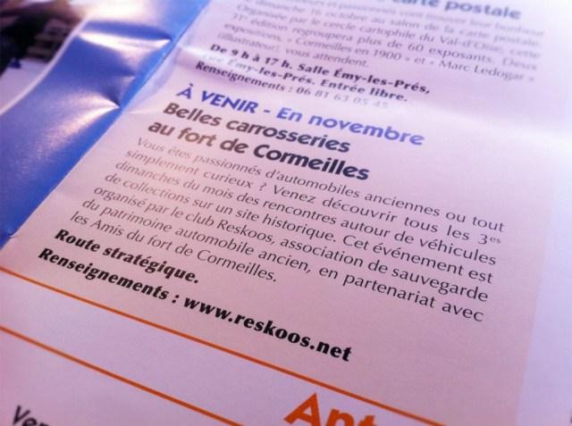 Le rassemblement du Fort est inscrit dans le magazine mensuel de la ville de Cormeilles-en-Parisis