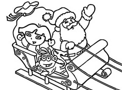 Coloriage de Dora sur le traineau du Père Noël