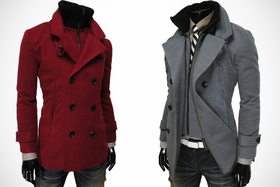 TheLees Men's Double Breasted Turtle Neck Coat