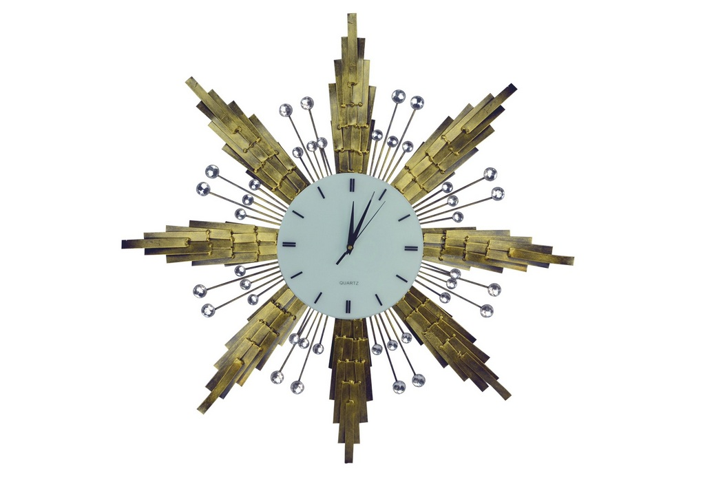 Star Decorative Metal Wall Clock With Crystal Ascents (1)