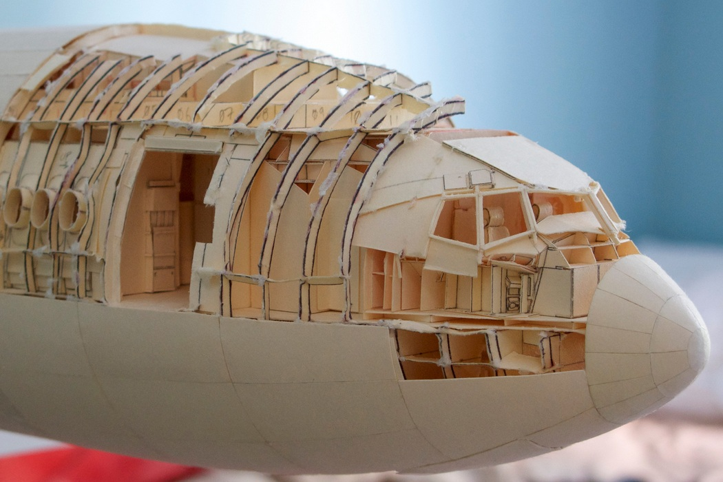 160-Scale Boeing 777 Built from Paper Manilla Folders (2)