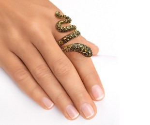 Black Crystal Gold-Plated Coiled Snake Ring