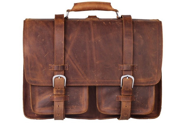 Retro Style Leather Briefcase for Laptop