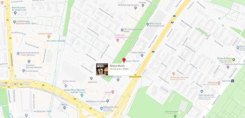 Das Cateringunternehmen Bonjour München auf Google Map