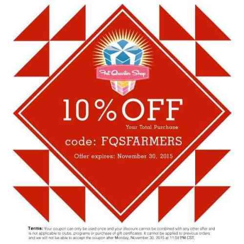 10% coupon for Fat Quarter Shop over at Bonjour Quilts