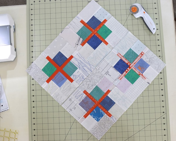 Quilt block tutorial: Scrappy Cross Patchwork Block by Bonjour Quilts