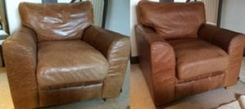 Leather cleaning aniline leather armchair before and after cleaning