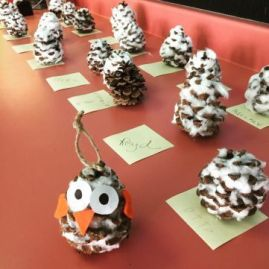 Pinecone owl ornaments finished