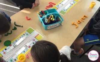 Students using Play-doh in the classroom