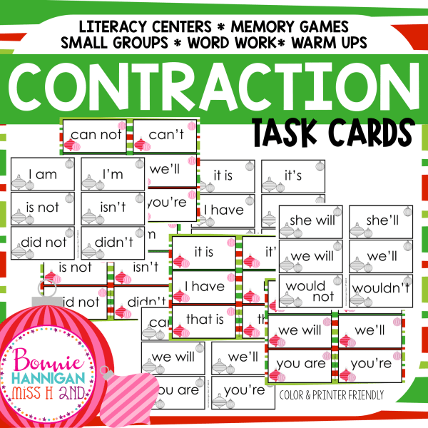 Contraction Task Cards Resource