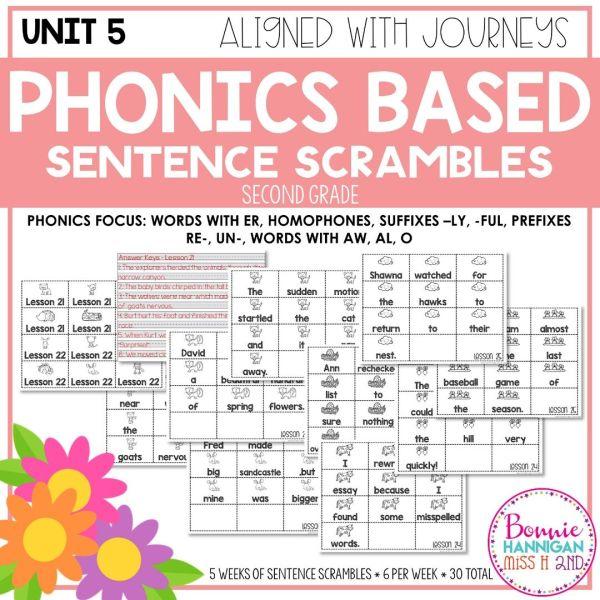 Grade 2 Unit 5 Phonics Sentence Scrambles