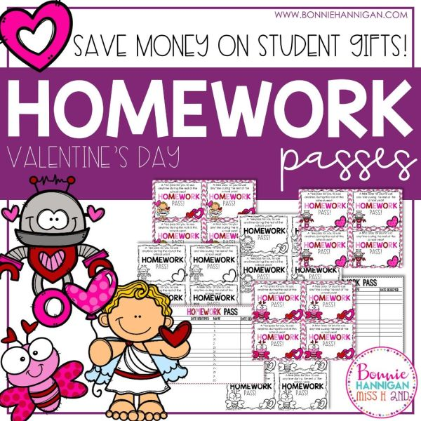 Homework Passes Valentines Day Theme
