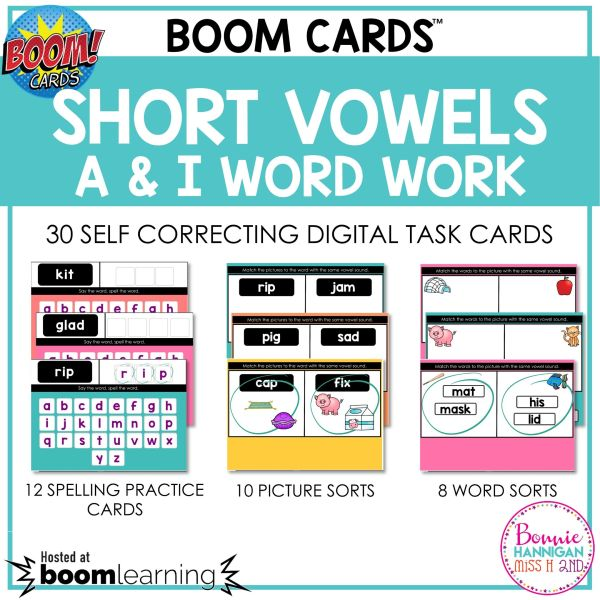 Boom Cards Short Vowels a and i