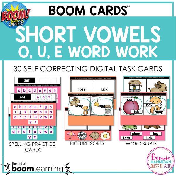Boom Cards™ Short Vowels O,U,E