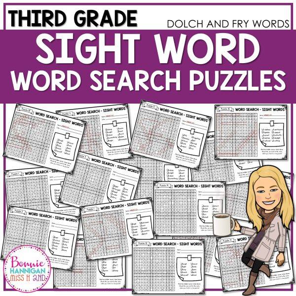 Third Grade Sight Word Word Search Puzzles