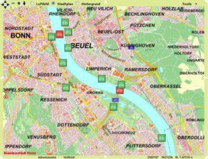 Karte mit den Fahrrad Dauerzählstellen in Bonn