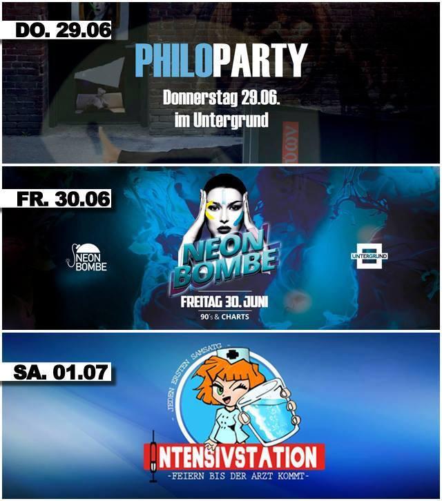 Untergrund Bonn - Die Partys vom 29.06. - 01.07.2017