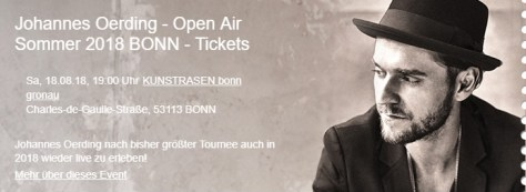 Johannes Oerding - Open Air Sommer 2018 Bonn - Tickets