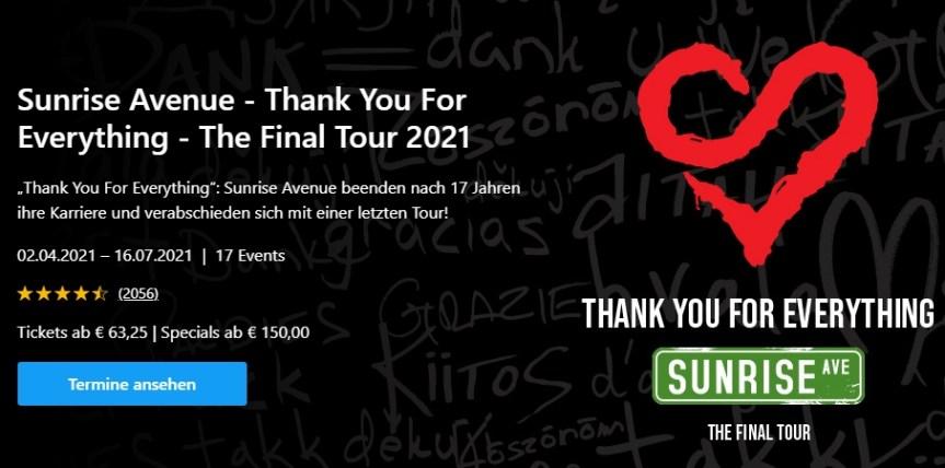 TICKETS Sunrise Avenue Abschiedstour 2021 in der LANXESS arena Köln