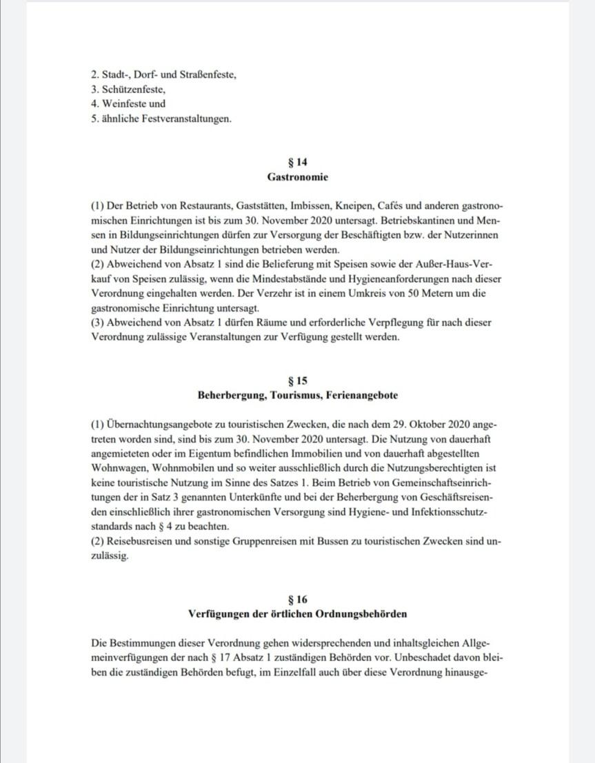 Verordnung zum Schutz vor Neuinfizierungen mit dem Coronavirus SARS-CoV-2 (Coronaschutzverordnung – CoronaSchVO) Vom 30. Oktober 2020