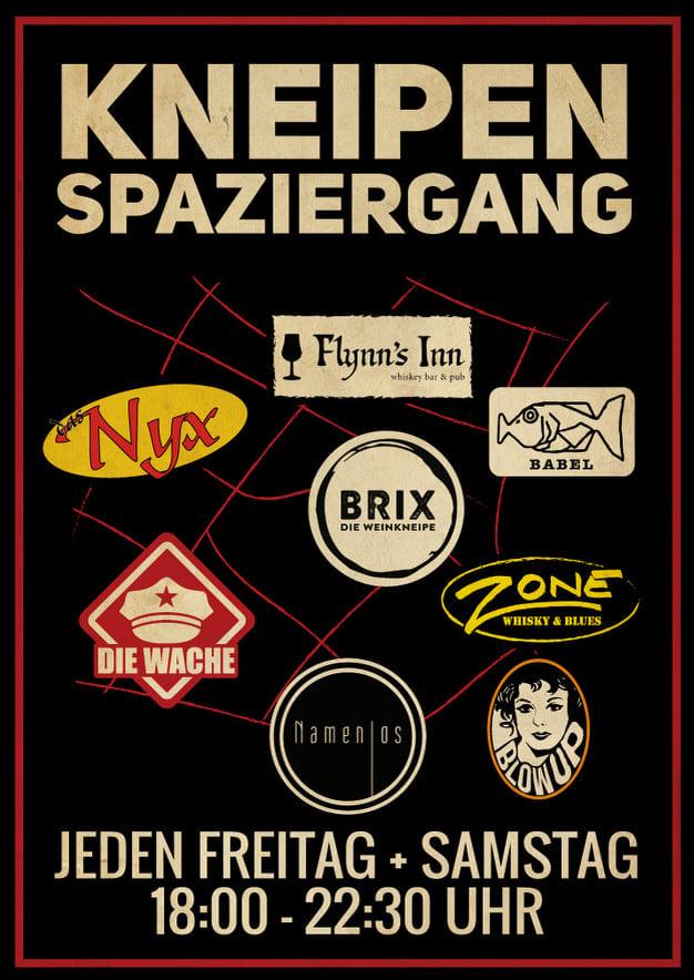 Bonner Kneipenspaziergang Blow Up | Brix | Das Nyx | Die Wache | Flynn's Inn Whiskey Bar and Pub | Kneipen | Namenlos