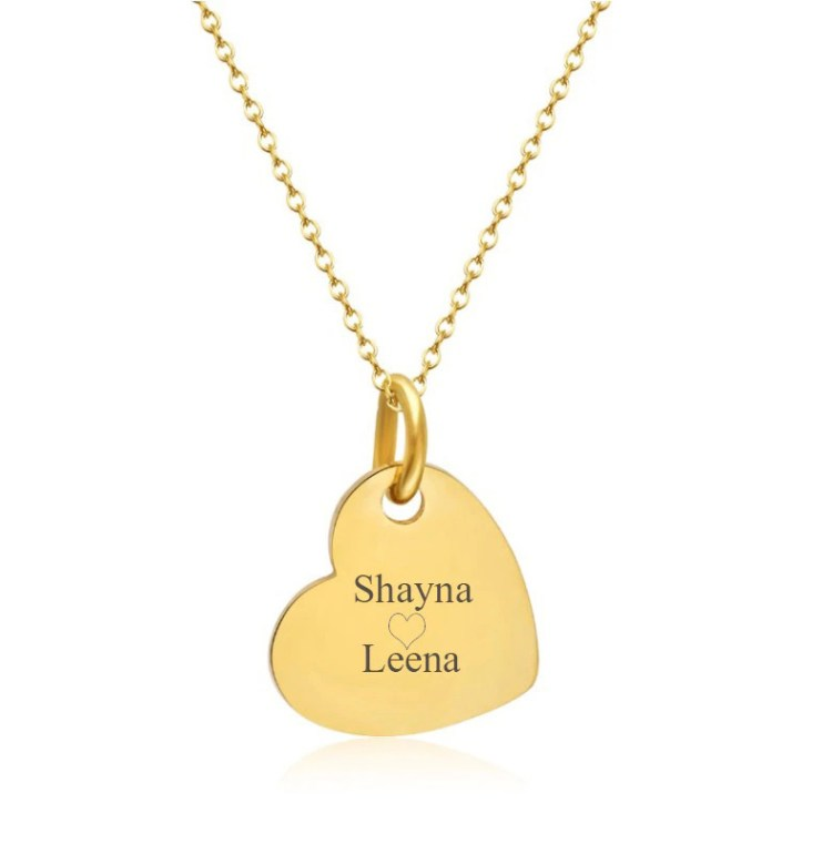 Engraved Single Heart Necklace