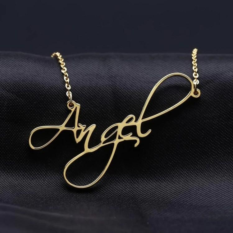 cursive necklace