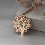 rose gold family tree necklace with birthstones