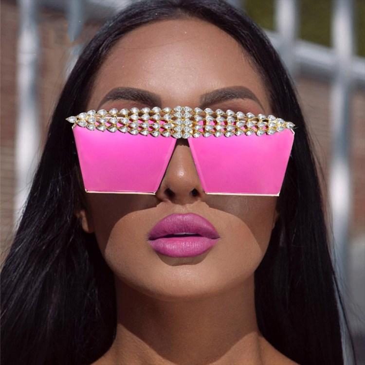 pink violet purple sunglasses with rhinestones crystal diamonds inlaid top frame fashion women trendy sunglass