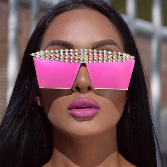 pink violet purple sunglasses with rhinestones crystal diamonds inlaid top frame fashion women trendy sunglass