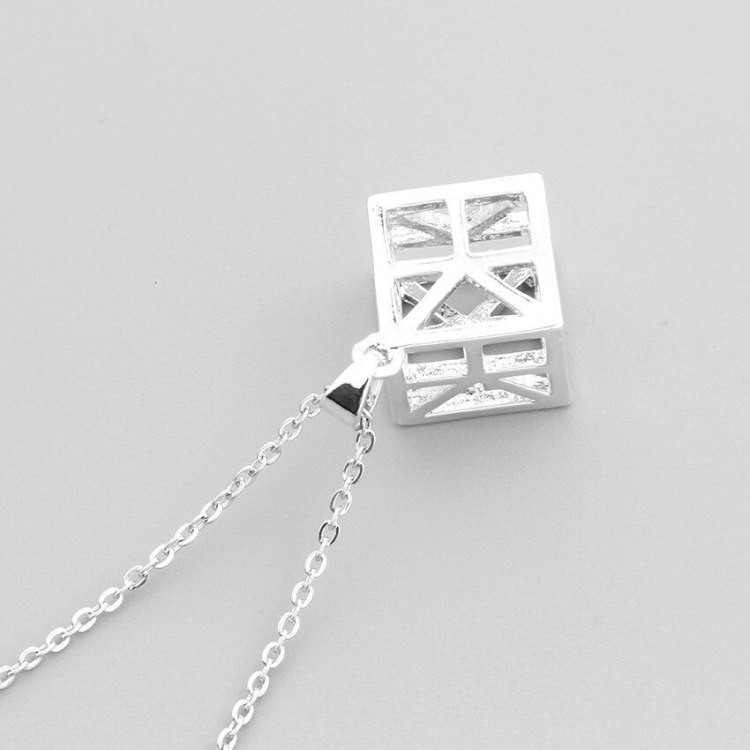 geometric silver stainless steel necklace minimalist simple