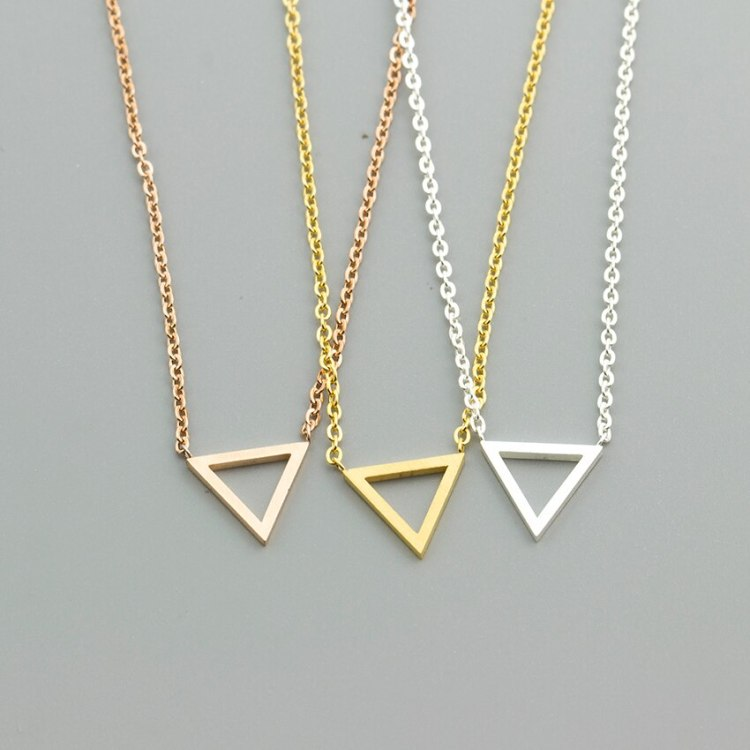 geometric triangle necklaces in gold silver rosegold colors