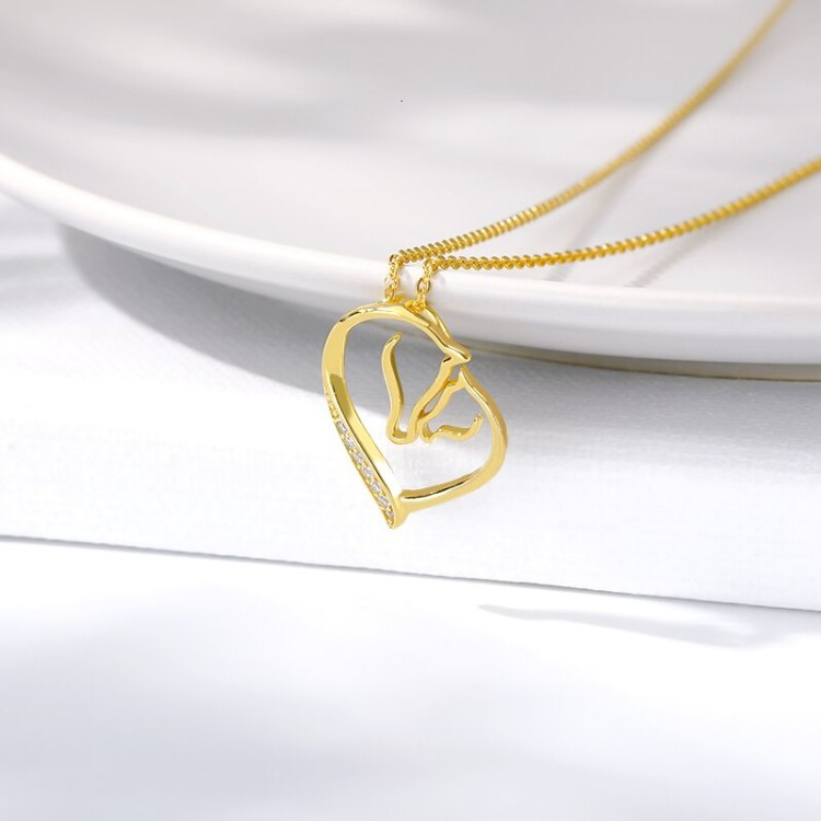 horse family gold color necklace minimalist crystal