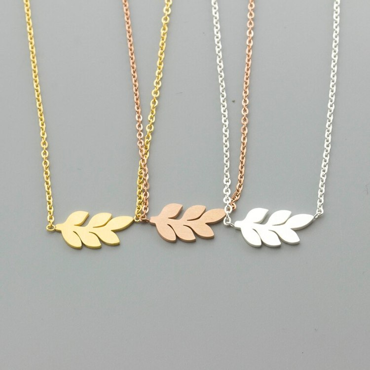 simple laurel leaves necklace in gold silver rosegold colors