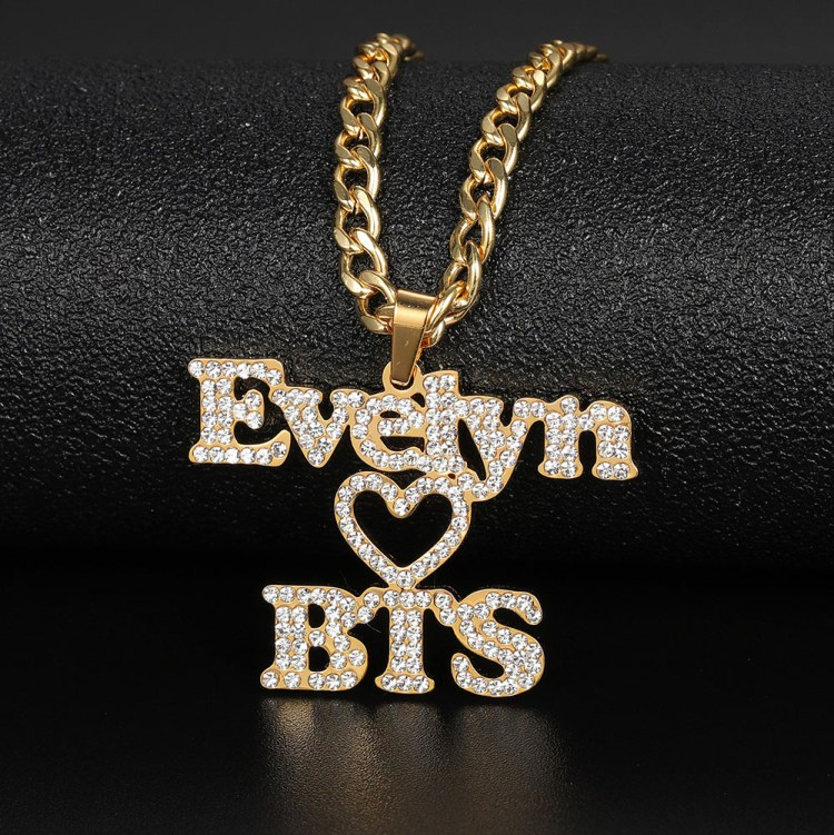 favorite artist hip hop cystal personalized custom name iced out 2 name BTS army die hard fans necklace