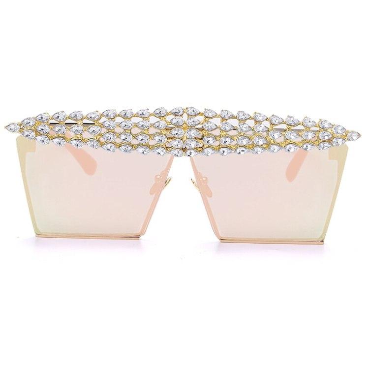 luxury fashion diamond rhinestones square sunglasses for women 2021 trendy fashion products sunglasses in beige color