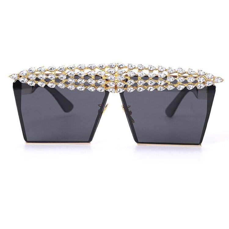 luxury fashion diamond rhinestones square sunglasses for women 2021 trendy fashion products sunglasses in black color
