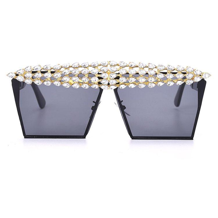 luxury fashion diamond rhinestones square sunglasses for women 2021 trendy fashion products sunglasses in gray color